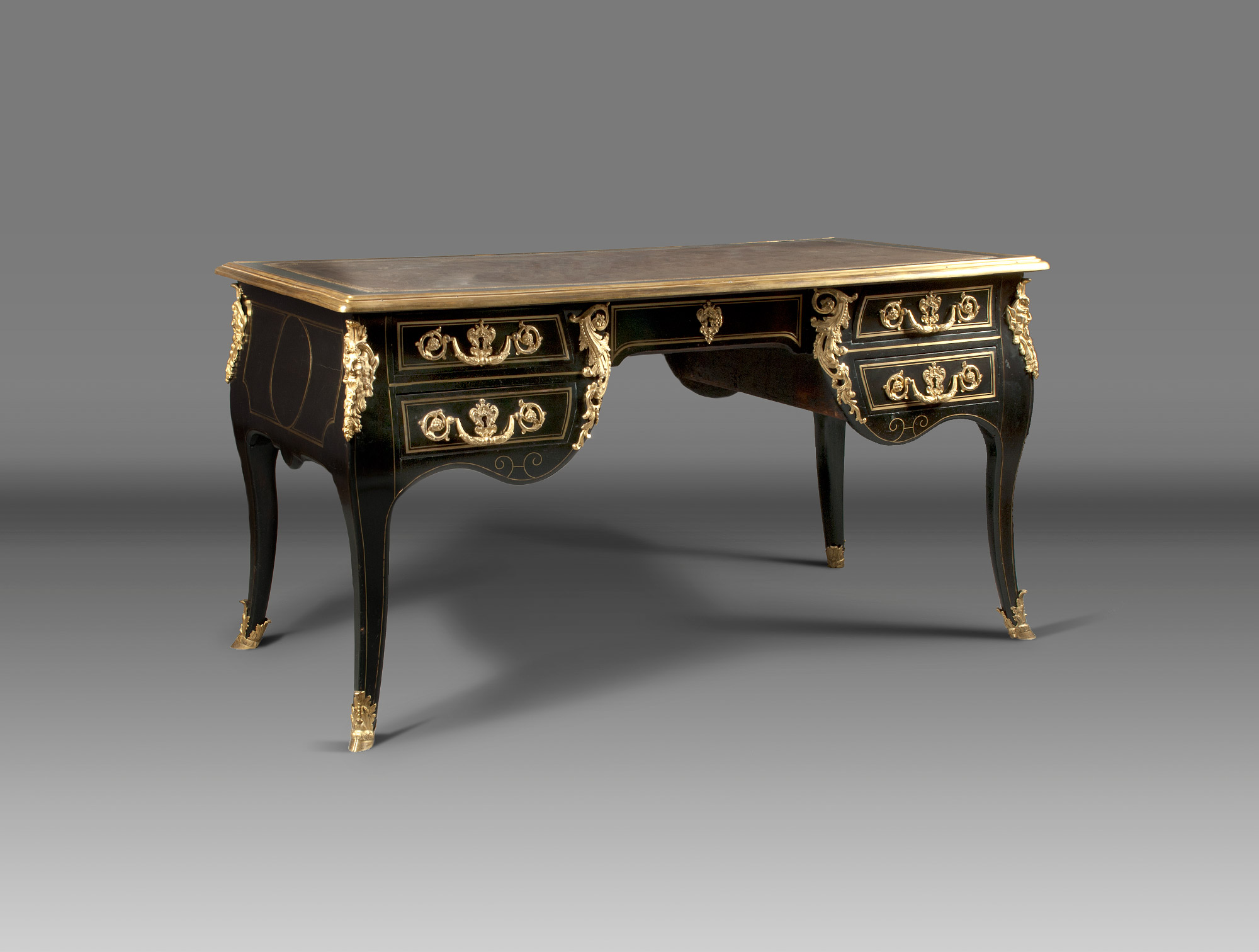 Office black and bronze louis xv soubrier rent tables desk desk