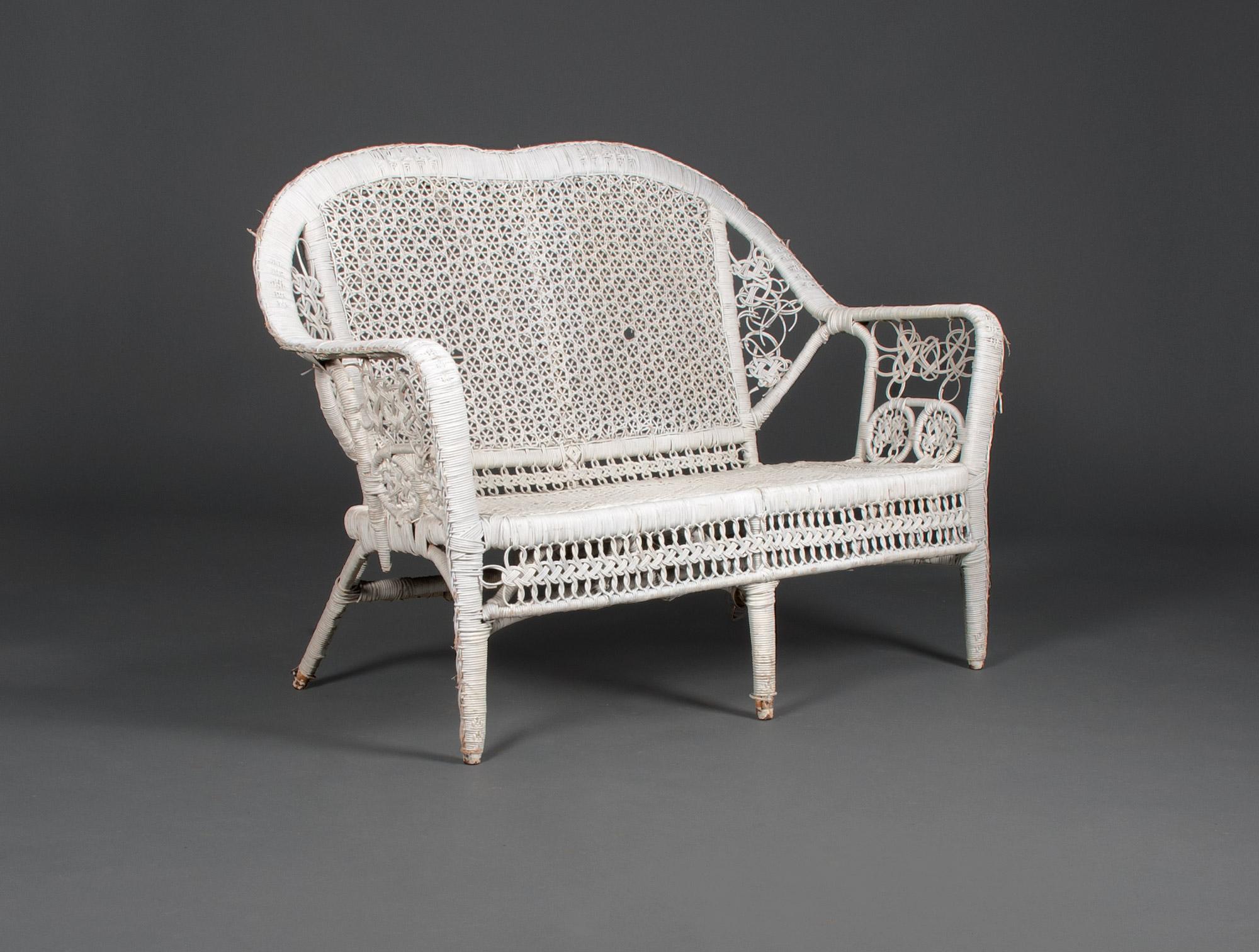 Salon de jardin en osier blanc Soubrier - Louer Sièges Salon XXe