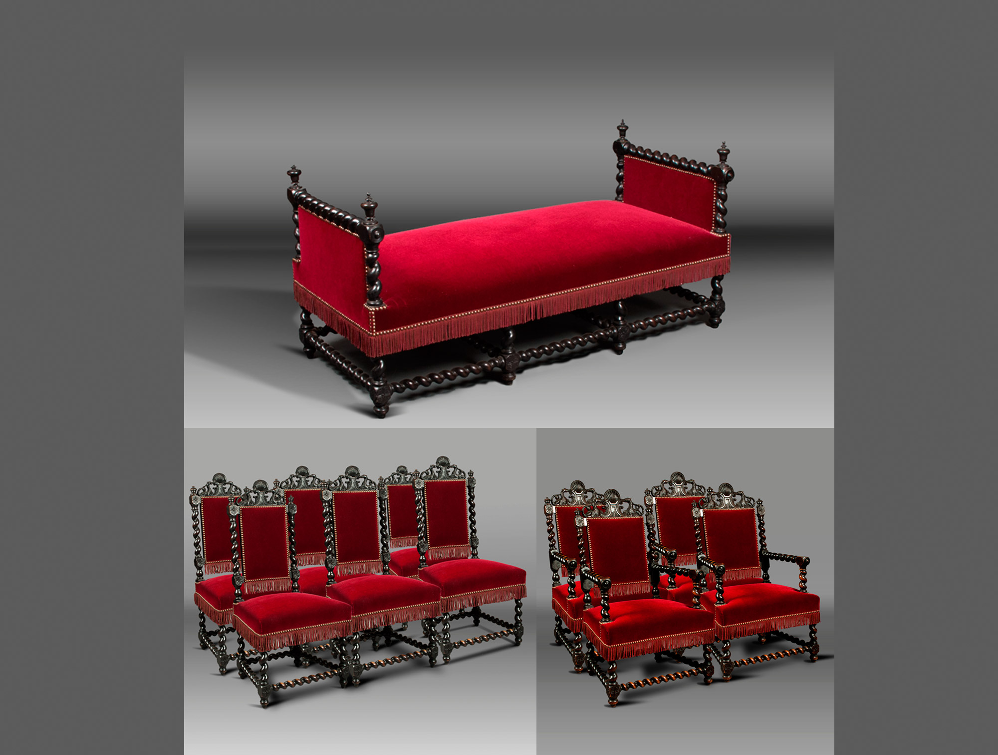 salon napol233on iii velours rouge soubrier louer si232ges