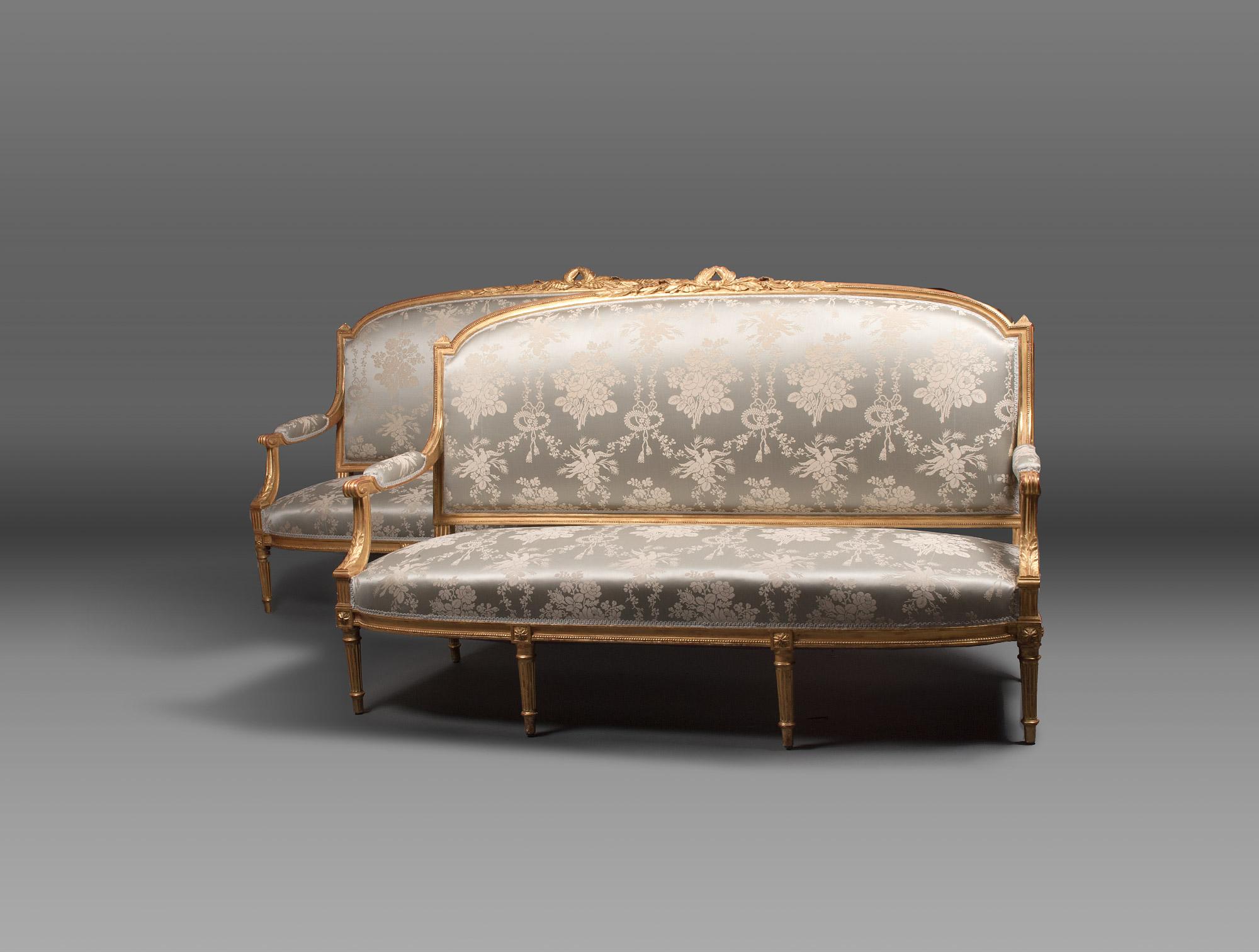 Pair Of Blue Louis XVI Sofas