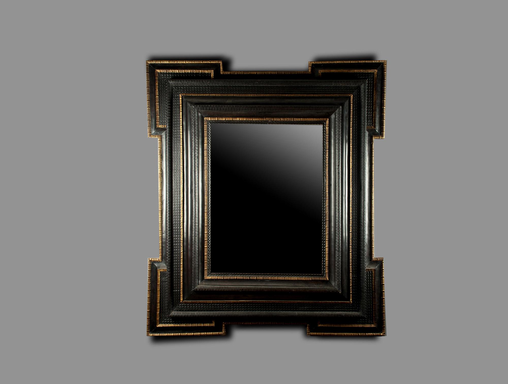 Miroir noir soubrier louer mobiliers miroir psych xviiie for Miroir carre noir