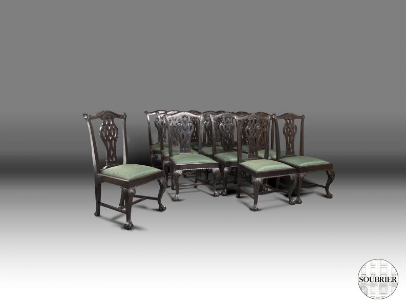 12 Chaises Chippendale