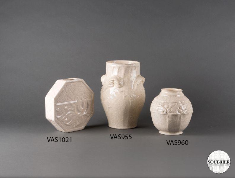 Set Of Crazed Earthenware Vases Soubrier Rent Deco Objects Vase Xxth