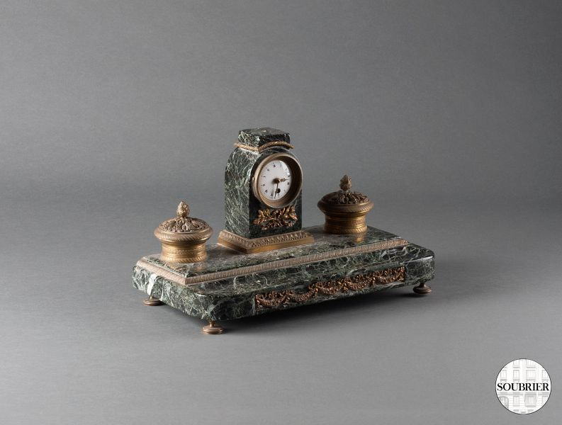 Marble inkstand with clock