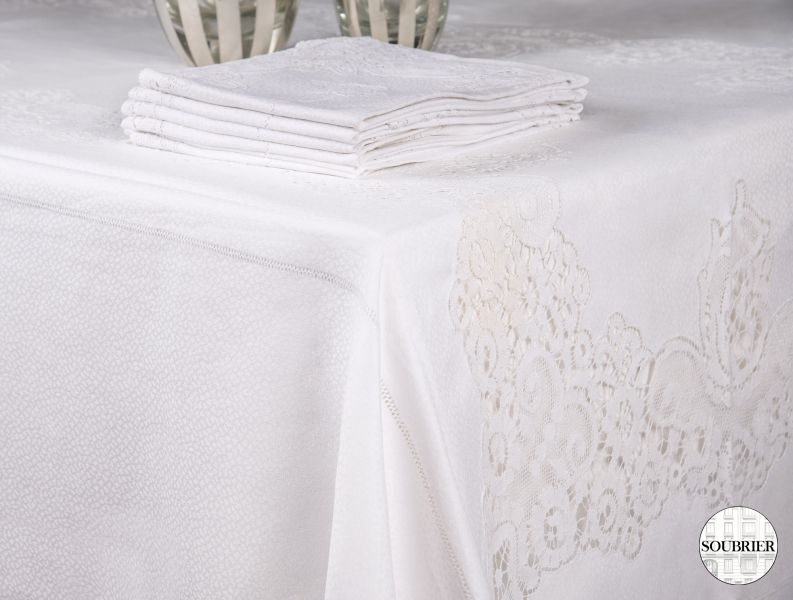 Lace and damask tablecloth