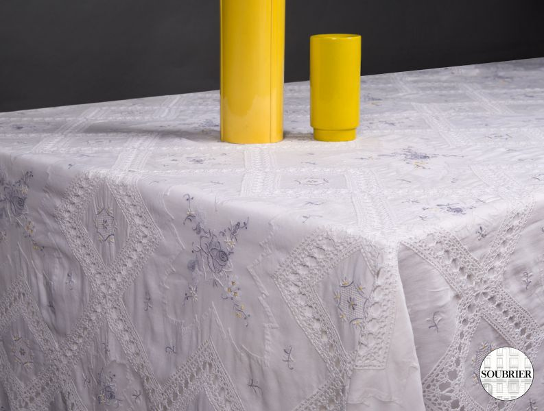 Lace and cotton tablecloth