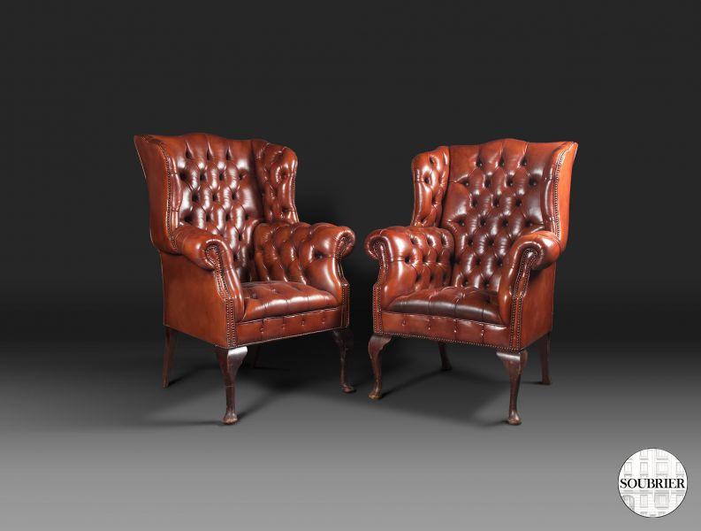 fauteuils anglais capitonn s soubrier louer si ges fauteuil xviiie. Black Bedroom Furniture Sets. Home Design Ideas