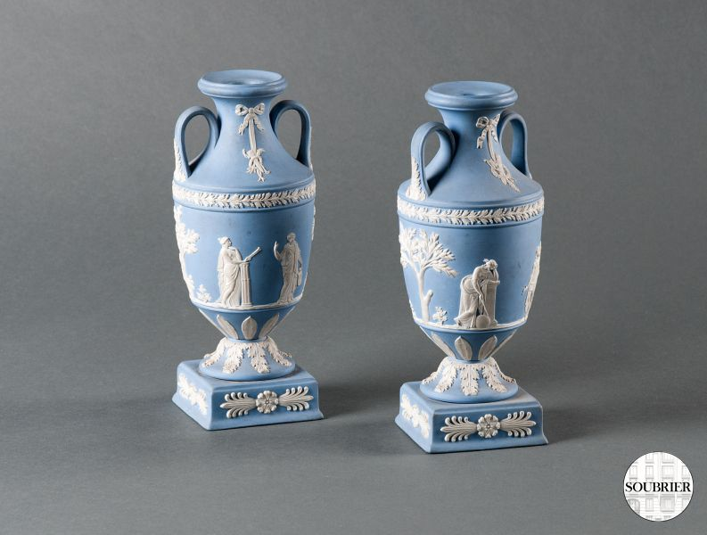 Two Wedgwood Vases Medicis Soubrier Rent Deco Objects Vase Xxth