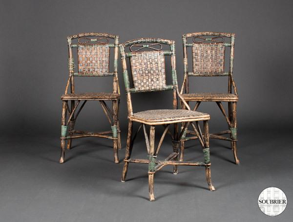 trois chaises en rotin soubrier louer mobiliers meuble de jardin xxe. Black Bedroom Furniture Sets. Home Design Ideas