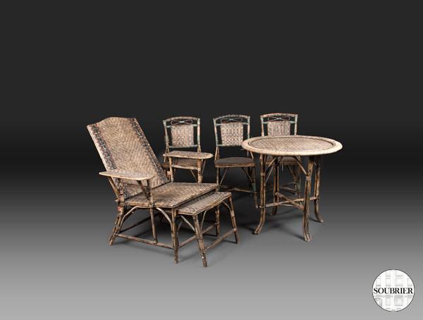 chaise longue en rotin soubrier louer mobiliers meuble. Black Bedroom Furniture Sets. Home Design Ideas