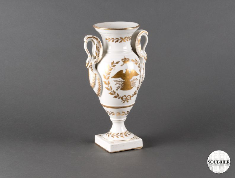 Vase Empire blanc et or