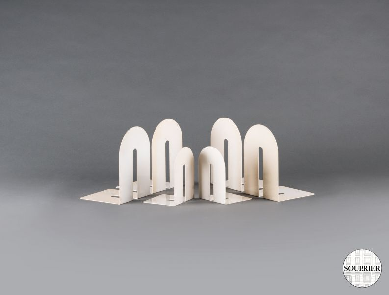 White sheet of metal bookends