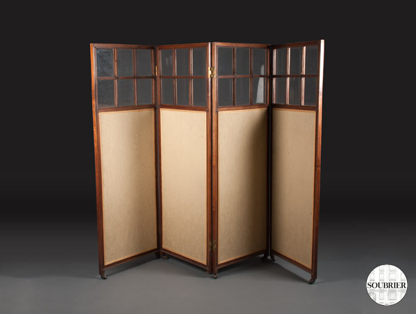Mahogany and glass screen