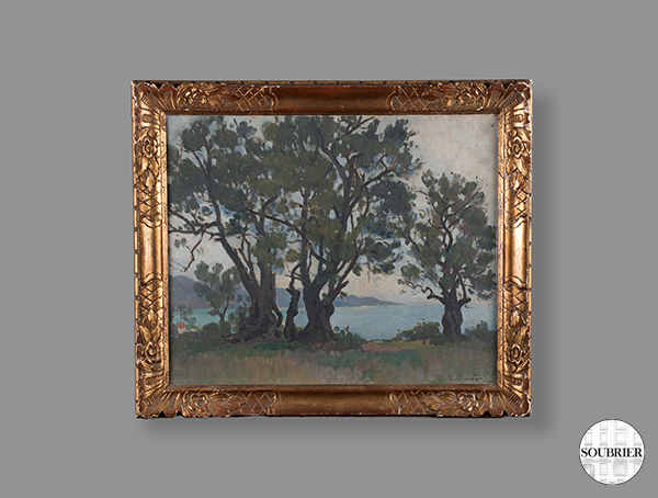 Oil with trees and sea