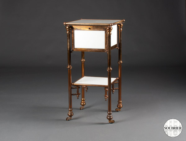 Opaline bedside table and copper