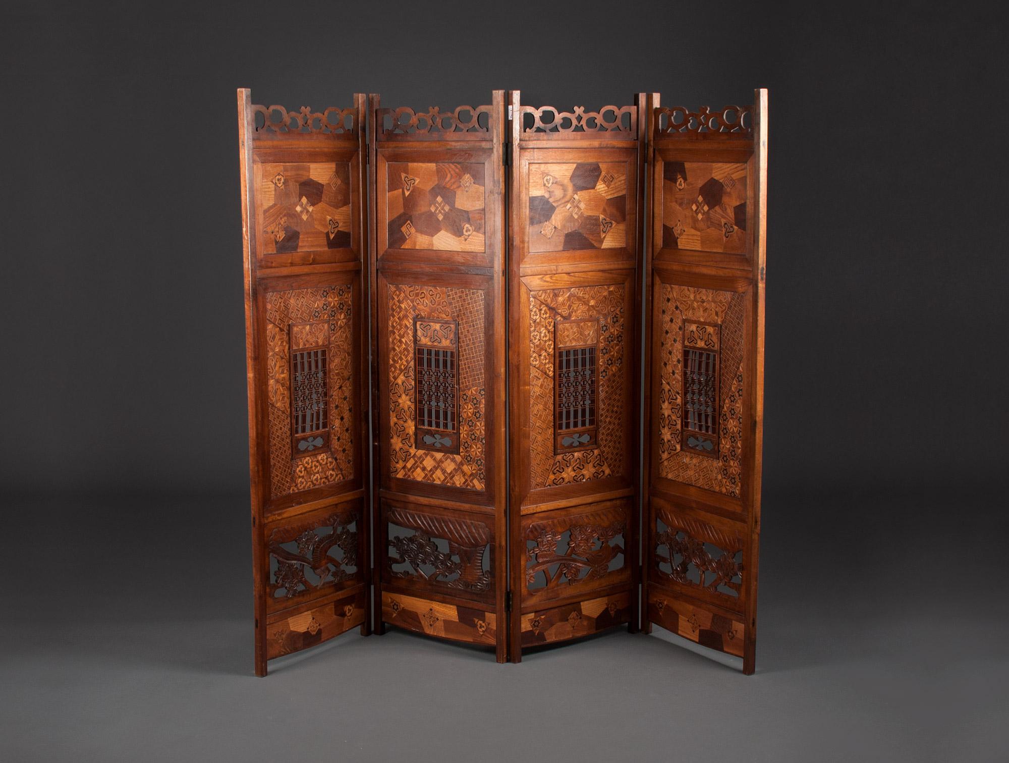 paravent japonais soubrier louer mobiliers paravent xixe. Black Bedroom Furniture Sets. Home Design Ideas